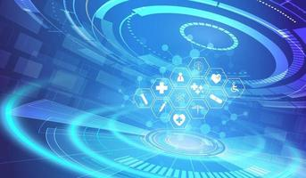 modello di icona di assistenza sanitaria progettazione del fondo di concetto di innovazione medica vettore