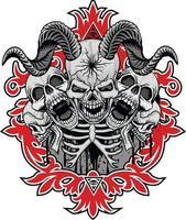 segno gotico con teschio cornuto, magliette di design vintage grunge vettore