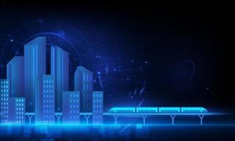 città intelligente e rete di comunicazione wireless, rete wireless 5g e concetto di città intelligente. vettore