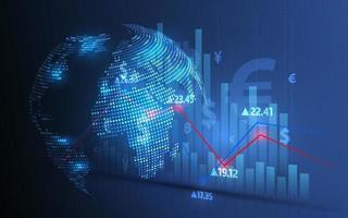 analisi del mercato azionario e compravendita di azioni, simboli di valuta, grafici commerciali e trasferimenti di denaro globali vettore