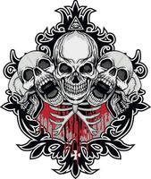 segno gotico con teschio e torace, magliette di design vintage grunge vettore