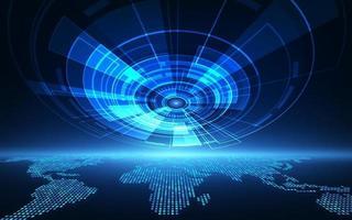 sistema globale del circuito futuristico astratto di vettore, concetto di colore blu di alta tecnologia digitale dell'illustrazione vettore