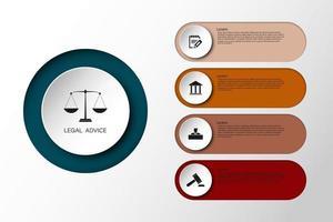 legge informazioni per giustizia legge verdetto caso legale martello martello di legno crimine tribunale asta simbolo infografica vettore