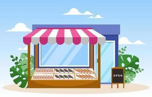 negozio di frutta fresca verdura bancarella stand drogheria nell'illustrazione del mercato vettore