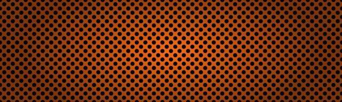 intestazione metallica arancione scuro perforata. illustrazione vettoriale astratto banner