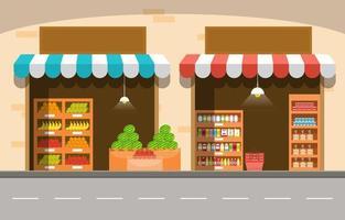 drogheria del basamento del deposito della verdura della frutta del bordo della strada nell'illustrazione della città vettore