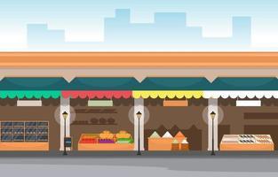 drogheria sana del basamento del deposito della verdura della frutta nell'illustrazione della città vettore