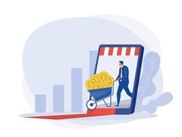 uomo d'affari ottiene profitto online da smartphone, schermo seduto su denaro e monete. successo finanziario, concetto di ricchezza di denaro. vettore