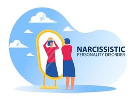 donna che guarda allo specchio se stessa con sintomi di disturbo narcisistico di personalità vettore
