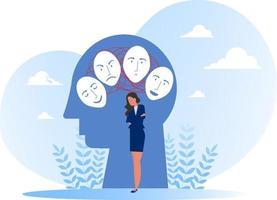 sindrome dell'impostore, maschere con espressioni felici o tristi, disturbo bipolare, facce ed emozioni false. psicologia, falso comportamento o illustratore ingannatore vettore