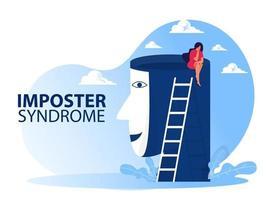 sindrome dell'impostore, ragazze con maschere con espressioni felici o tristi. vettore