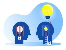uomo d'affari che soffia lampadina dalla pompa ad aria. mentalità di crescita con diversi concept.vector di mentalità fissa illustratore vettore