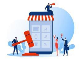 concetto di affari dell'asta, vendita di ritratti. illustrazione di vettore del modello di progettazione della pagina di destinazione del sito Web.