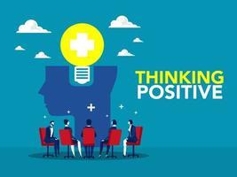 riunione di lavoro di squadra o condividere un'idea con la lampadina sulla testa umana pensiero positivo concetto di business, leadership, cooperazione, partnership, innovazione, nuova idea, concetto di creatività nel vettore. vettore