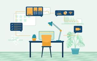 lavorare da casa computer internet illustrazione di libero professionista in linea di affari vettore