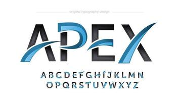 tipografia del logo di gioco moderno blu e nero vettore