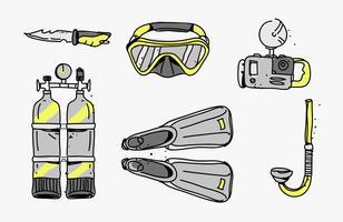 Il pacchetto disegnato a mano dello starter di immersione con bombole foggia l'illustrazione di vettore degli strumenti