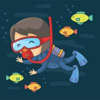 Vettore di immersione con bombole del fumetto