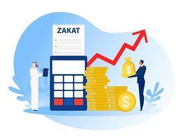 uomo d'affari paga zakat dal profitto sull'illustratore vettoriale di ramadan kareem.