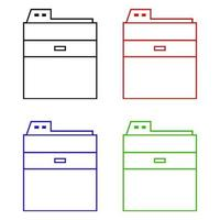 set di fotocopiatrice su sfondo bianco vettore