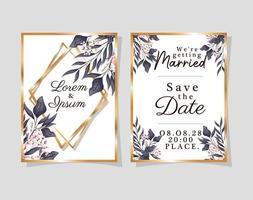 due inviti di nozze con cornici dorate fiori e foglie disegno vettoriale