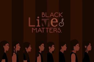 sfondo di diverse donne dei cartoni animati per la vita nera è importante vettore