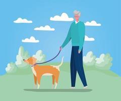 uomo anziano che cammina con il cane vettore