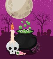 teschio di Halloween con candela, bulbo oculare e disegno vettoriale calderone della strega