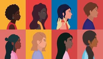 profili di donne e uomini di diversità sullo sfondo di cornici multicolore vettore