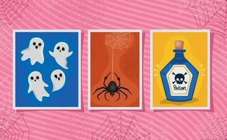 set di adesivi di Halloween vettore