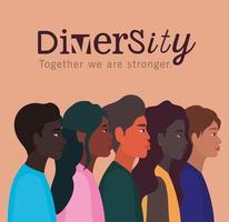 concetto di diversità con persone interrazziali vettore