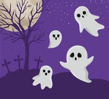 fantasmi di Halloween davanti al disegno vettoriale del cimitero