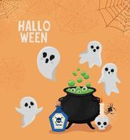fantasmi di Halloween con disegno vettoriale ciotola della strega