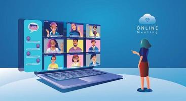 persone di eventi virtuali utilizzando la videoconferenza, lavorando imprenditrice sullo schermo della finestra prendendo con i colleghi. videoconferenza e pagina dell'area di lavoro per riunioni online, uomini e donne che imparano vettore, piatto vettore