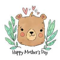 Carino mamma orso con cuori e foglie intorno vettore