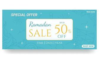 ramadan disegnato a mano. scarabocchia il banner di vendita del ramadan vettore