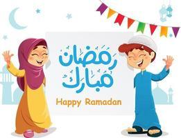 felici giovani bambini musulmani con banner ramadan mubarak che celebra il ramadan vettore