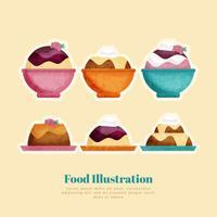 Illustrazione disegnata a mano del dessert di vettore