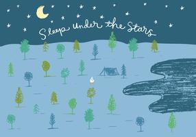 dormire sotto le stelle illustrazione di campeggio vettore
