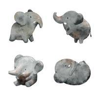 carino elefante acquerello illustrazione vettoriale. vettore