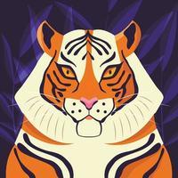 colorato ritratto di bella tigre su sfondo viola. animale selvatico disegnato a mano. grande gatto. vettore