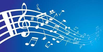 raccolta di note musicali su un pentagramma vettore