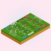 Campo vista isometrica con illustrazione di giocatori di calcio