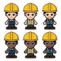 raccolta di set di costruzione di manodopera carina vettore
