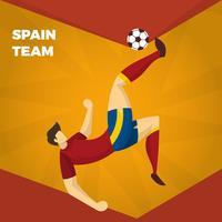 Illustrazione spagnola piana di vettore dei caratteri di calcio