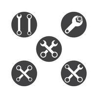 set di illustrazione di immagini logo chiave inglese vettore