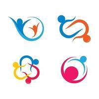 insieme di progettazione delle immagini del logo di cura della comunità vettore
