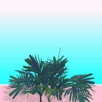 vettore stile piatto di palma areca. isolare su sfondo rosa e blu pastello. sensazione estetica emozione nostalgica