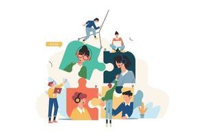società di affari alla ricerca di un dipendente sotto forma di puzzle vettore