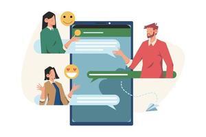 comunicazione tramite chat di gruppo sui social network in Internet vettore